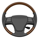 Wooden steering wheel Royalty Free Stock Photography