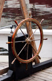 Wooden steering wheel on old sailboat Stock Photography