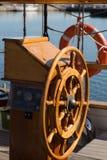 Wooden steering wheel Royalty Free Stock Image
