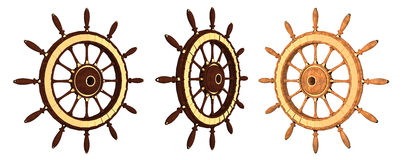 Wooden steering wheel of a ship. With gold on a white background Royalty Free Illustration