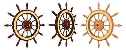 Wooden steering wheel of a ship Stock Photos