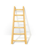 Wooden step ladders stand near white wall Stock Photos