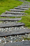 Wooden Stepping Pathway Stock Photo