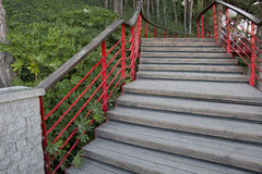 Wooden steps with red railing Royalty Free Stock Photos