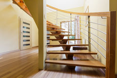 Wooden steps in a spacious hall Stock Photo