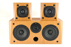 Wooden stereo speakers on white Royalty Free Stock Images