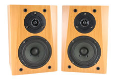 Wooden stereo speakers on white Stock Photos