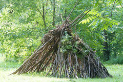 Wooden stick house looking like indian hut, Royalty Free Stock Photography