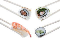 Wooden Sticks with different types of Sushi Royalty Free Stock Image