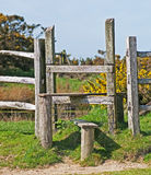 Wooden Stile. A wooden stile on the South Downs Way in England Royalty Free Stock Photos