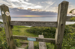 Wooden Stile Allowing Access The A Coastal Walking Path In Wales Stock Photos
