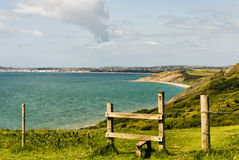 Wooden stile on the Dorset coast path Royalty Free Stock Photo