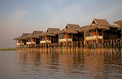 Wooden stilt bungalows on the Lake Inle Myanmar Stock Photos