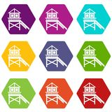 Wooden stilt house icon set color hexahedron Royalty Free Stock Photography