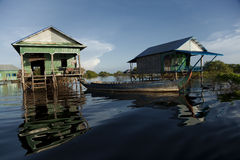 Wooden stilt houses Royalty Free Stock Photo