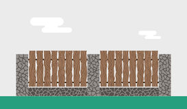 Wooden and stone fence  on night Stock Photo