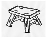 Wooden stool illustration Stock Image