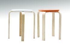Wooden stool isolated with clipping path Stock Photos