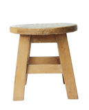 Wooden stool isolated by hand made isolated with clipping path. Royalty Free Stock Photos
