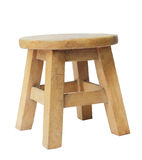 Wooden stool isolated by hand made isolated with clipping path. Stock Image