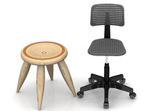 Wooden stool and an office chair. One wooden stool and an office chair on white surface. . 3D Illustration Royalty Free Stock Images