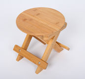 Wooden Stool Over White Stock Images