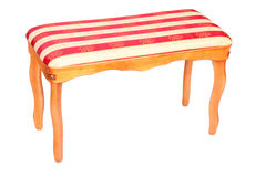 Wooden stool with striped upholstery isolated Royalty Free Stock Photos