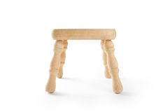 Wooden stool  on white. Royalty Free Stock Photo