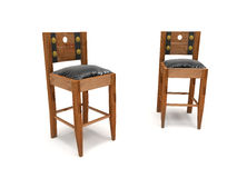 Wooden Stools Leather Seats Stock Photo