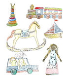 Wooden and straw old baby toys - vector pencil illustration, set. Wooden and straw old baby toys: straw doll, wooden train, rocking horse, tube sorting, tallship vector illustration