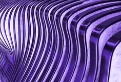 Wooden striped curving background, abstract design in super fashionable ultra violet color 18-3838. Abstract background with striped, wavy pattern, defocused in Stock Photos