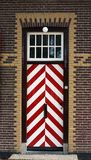 Wooden striped medieval door. The wooden striped door in castle royalty free stock photography