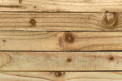 Wooden strips showing the knots, grain and texture of the wood. With strips running horizontal Royalty Free Stock Photos