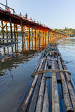 Wooden structure bridge and raft Royalty Free Stock Photos