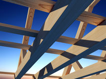 Wooden structure. House against the sky Royalty Free Stock Photography