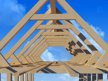 Wooden structure. House against the sky Royalty Free Stock Image