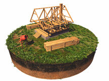 Wooden structure. House on the model of the earth Stock Photo