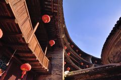 Wooden structure inside of Earth Castle, South of China Royalty Free Stock Photography