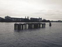 A wooden structure in a river. Shot in black and white royalty free stock image