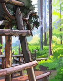 Wooden structure in sunny summer forest. Painted wooden structure in sunny summer forest Royalty Free Stock Photo