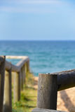 Wooden structures at the beach. Footpath Stock Photography