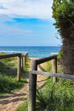 Wooden structures at the beach. Footpath Royalty Free Stock Photo