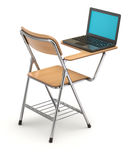 Wooden student chair with desk and notebook Stock Photography
