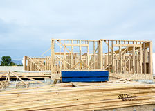 Wooden studs erected in home construction Stock Image