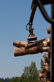 Wooden stumps on a truck. Wooden stumps stacked on a truck Stock Photography