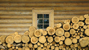 Wooden stumps and wooden house Royalty Free Stock Image