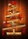 Wooden and Stylized Christmas Tree Royalty Free Stock Photography