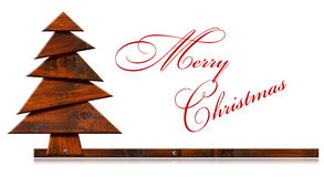 Wooden and Stylized Christmas Tree Stock Photos