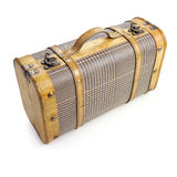 Wooden suitcase. With fabric cover Stock Photo