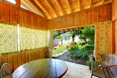 Wooden summer house interior Royalty Free Stock Photography
